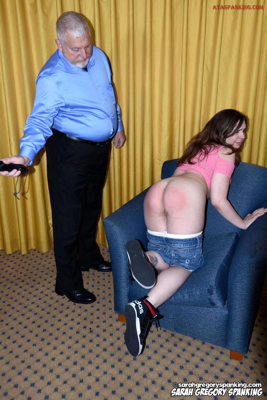 Dad spanks son