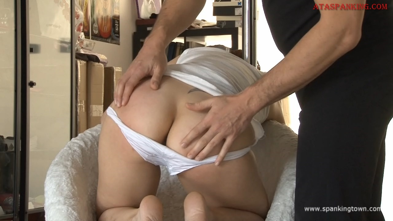 "Here we are, back with Camille, the submissive amateur slut. This young big  butt stupid broad accepted to be spanked ""but not too long, right ?"" Sure !"
